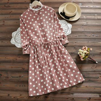 Mori Girl Sweet Polka Dot Pink Dress 2018 New Spring and Winter Cotton Clothes Women Lace-Up Slim Waist Corduroy Dresses