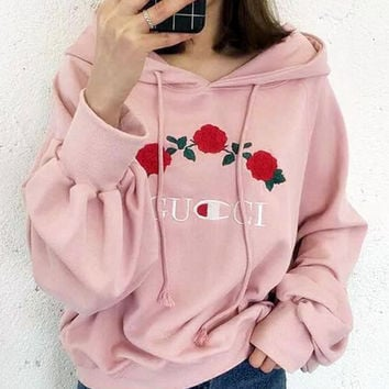 GUCCI Fashion Rose Flower Embroidery Top Sweater Pullover Hoodie