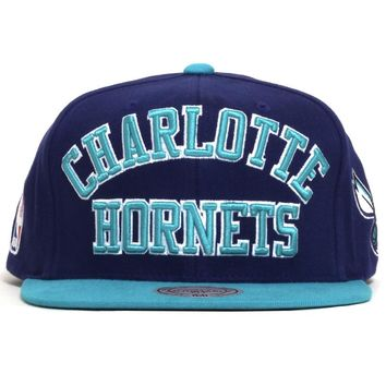 Charlotte Hornets NBA Wordmark Snapback Hat Purple / Teal