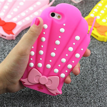 New Lovely 3D Bowknot Mermaid Sea Shells Valfre Capa Para Soft Silicone Phone Case Cover For iPhone 5 5G 5S 6 6G 6S 6Plus 5.5