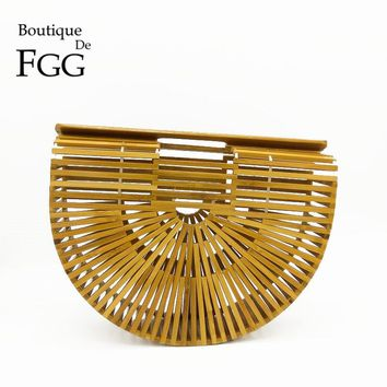 Boutique De FGG Famous Brand Women Day Clutches Bamboo Fashion Handbag and Purse Summer Straw Totes Party Dinner Clutch Bag