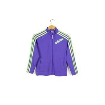 ADIDAS mesh track jacket - pastel purple + neon green - womens small - medium