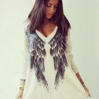 Beige V-neck Angel Wings Print Chiffon Long Sleeve T-Shirt