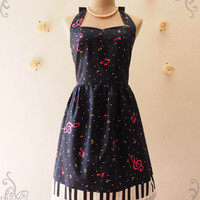Music In Navy Navy with Piano Key Dress Summer Dress Retro Party Cocktail Bridesmaid Birthday Concert Anniversary Event Dress -XS-XL,Custom