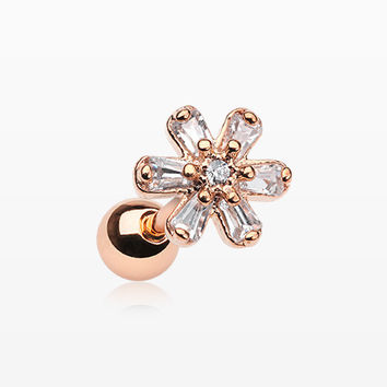 Rose Gold Princess Flower Sparkle Cartilage Tragus Barbell