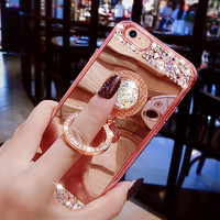for iPhone 7 Case Giltter Rhinestone Mirror Ring Hold Silicon Cover for Apple iPhone 7 Plus Diamond Finger Grip Stand TPU Case -03129