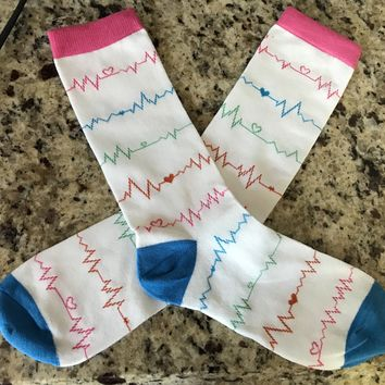 Nurse Socks, Medical Heartbeat EKG Socks for Women