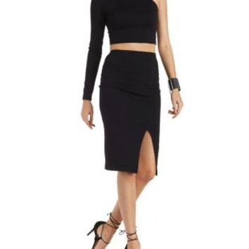 Black One Sleeve Crop Top & Midi Skirt Hook-Up by Charlotte Russe