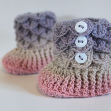 Rainbow Booties, Crochet Crocodile 6-12 Month Baby Girl Slipper Booties, Ready To Ship