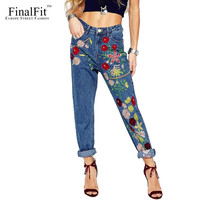 FinalFit Embroidery High Waist Pencil Jeans Women, Autumn&Winter Causal Curling Jeans Pants Femme, Denim Female Jeans