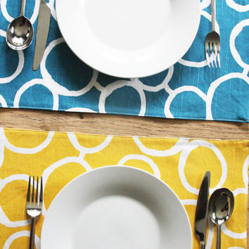 Reversible Placemats - FREE US SHIPPING Blue and Yellow with White Circles - Set of 2