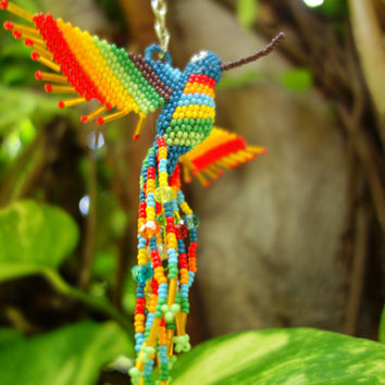 HUMMINGBIRD BEADED 3D BIRD Ornament Seed Beads Glass Miyuki Czech (Blue Body - Rainbow)