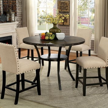 Furniture of america CM3323RPT-5PC 5 pc Kaitlin collection walnut finish wood industrial style round counter height dining table set