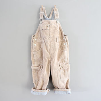 Toddler Dungarees Thick Corduroy Long Overalls Bib Pants Jumpsuits Flannel Lined Overalls Vintage Size 2 to 3 years old