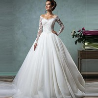 Vestido De Novia 2017 Cheap Lace Wedding Dresses Long Sleeve Fall Winter Bridal Gowns Plus Size Sexy Vintage Robe De Mariage