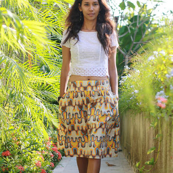 Summer Retro Skirt / Yellow Mustard Midi Skirt / Pockets Skirts / Elastic Waist / Woman's Orange Skirts