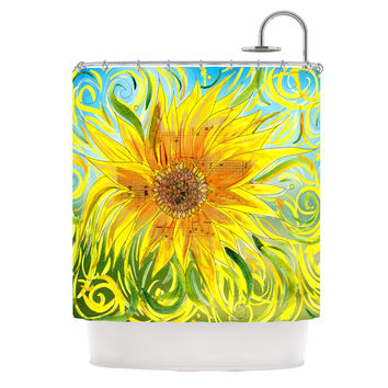 "Catherine Holcombe ""Sunflower Symphony"" Yellow Green Shower Curtain"