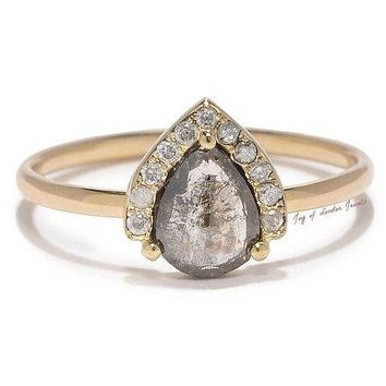 A 14K Yellow Gold Natural .85CT Pear Cut Light Grey Diamond Engagement Ring