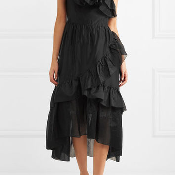 Ulla Johnson - Clemente one-shoulder ruffled cotton and silk-blend organza midi dress