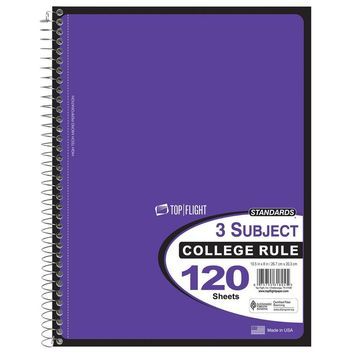 120 Sheet College Ruled 3 Subject Notebook - CASE OF 24
