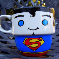Hand Painted Superman Stackable Mug by TheCornerGeekery on Etsy