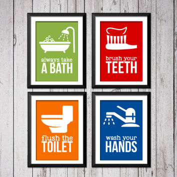 Kids Bathroom Art Prints, Bathroom rules art prints, Bathroom Rules, take a bath, wash your hands, brush flush wash, bathroom rules signs