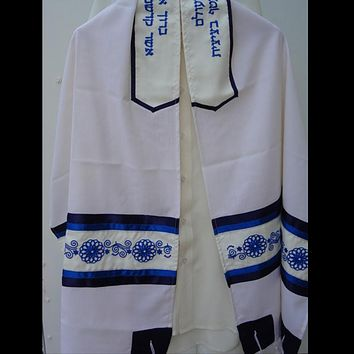 Blue Embroidered Wool Tallit, Bar Mitzah Tallit