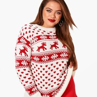 Plus Reece Fairisle Knitted Christmas Jumper | Boohoo