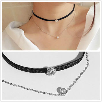 Shiny Jewelry Gift New Arrival Stylish Silver Chain 925 Double-layered Simple Design Necklace [10444775124]