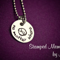 no matter where... - Hand Stamped Jewelry - Earth Necklace - Long Distance - Moving Away Gift - Best Friend Gift - Graduation or Deployment