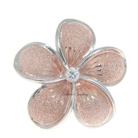 25MM PINK ROSE GOLD SILVER 925 HAWAIIAN PLUMERIA FLOWER SLIDER PENDANT