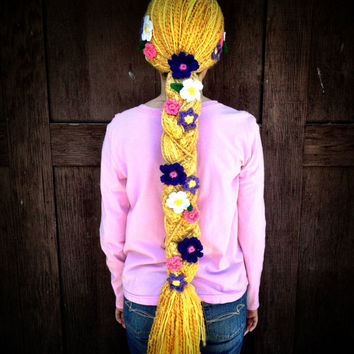 Disney Tangled Rapunzel Inspired Crochet Hat / Wig