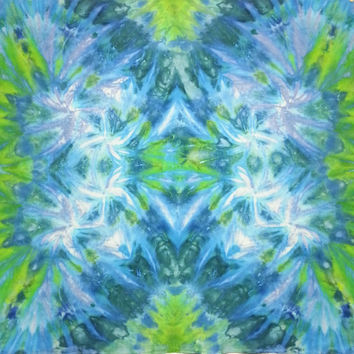 Trippy tie dye tapestry or wall hanging in blues and greens