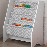Gray Chevron Sling Bookshelf