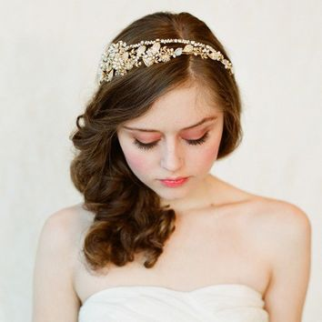 Bridal crystal, pearl and bead headband - Double band golden tiara - gold or silver - Style 147 - Made to Order - Best Seller
