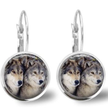 Gray Wolf Earrings Wolf Glass Tile Earring Jewelry Silver Leverback 18 mm