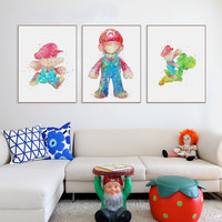 Original Watercolor Super Mario Japanese Game Poster Print A4 Abstract Picture K