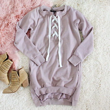 The Lace-up Sweatshirt Dress in Taupe