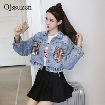 Trendy Cool Cropped Jeans Jackets For Female Spring Coats Short Women Sequins Jacket Denim Ripped Outerwear Streetwear Jeans Coat AT_94_13