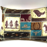 Cowboy Pillow Cover with 12 x 16 pillow form; Accent pillow/decorative pillow cover with envelope closure - Pillow form INCLUDED