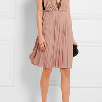 Gucci - Lace-paneled pleated crepe dress