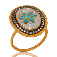 18K Yellow Gold Plated Sterling Silver Enamel Paint Fashion Cocktail Stack Ring