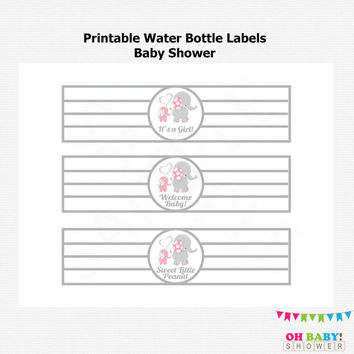Pink Gray Elephant Water Bottle Labels, DIY Printable Baby Shower Decor, Pink Elephant Baby Shower, Baby Girl, Instant download, EL0005-LP