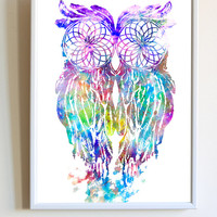 Watercolor Owl Dream Catcher Native American Print Nursery Poster Wall Art Decor