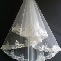 Custom Make Vintage White Ivory Lace Wedding Veil Bridal Veil French Lace Mantilla Veil