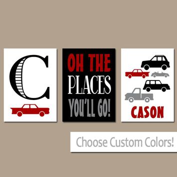 CARS Wall Art, Car Decor, CANVAS or Prints, Baby Boy Nursery Decor, Car Truck Decor, Transportation Theme, Oh The Places, Boy Name Set of 3