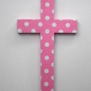 POLKA DOT Wall Cross - Princess Pink w/White Polka Dots Eco Felt Cross