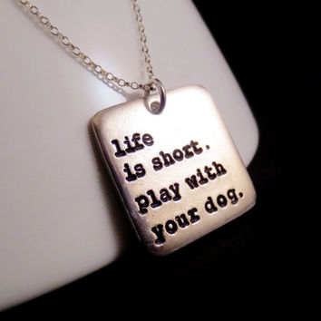 Personalized Square Pet Lover Necklace, I Love My Dog, Handstamped Phrase Words Names, Personalize Your Own Necklace, Mothers Day, Christmas