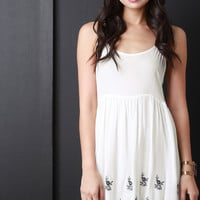 Embroidered Floral Scalloped Babydoll Dress