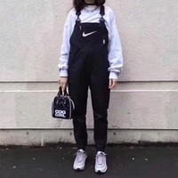 """Nike"" Women Casual Fashion Logo Print Denim Back Strap Pants Trousers Romper Jumpsuit Jeans"
